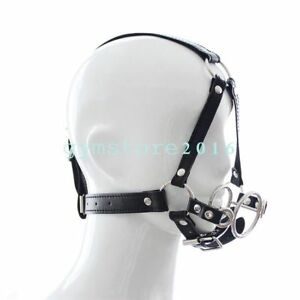 Objective Slave Harness Double Ring Metal Mouth Ba-ll Gag Plug Oral Fetish Restraint Toy Health & Beauty Health Care