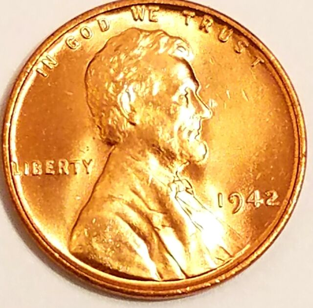 1942-D Lincoln Wheat Cent Penny Gorgeos Red B U CH GEM Nice Luster From OBW Roll