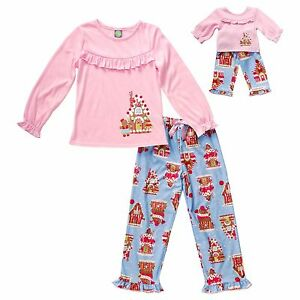 20c6a314b4 Dollie Me Girl 4-14 and Doll Matching Gingerbread Pajamas Outfit ...
