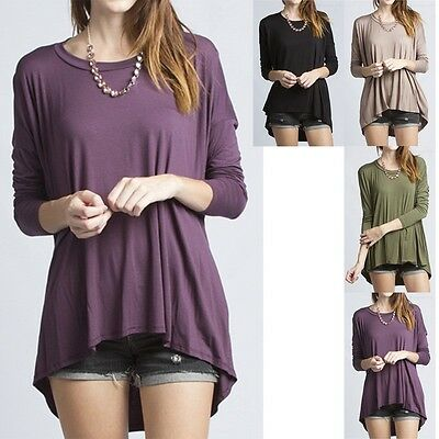 Women's Long Sleeve LOOSE Shirt Top Jersey Tunic Plain Viscose High & Low S M L
