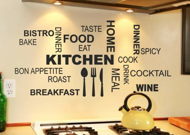 Kitchen Wall Quote Stickers Cafe Vinyl Art Decals transfer DIY cheap
