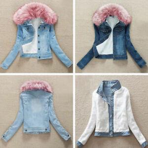 Ladies-Fleece-Lined-Sherpa-Denim-Jacket-Faux-Fur-Pink-Collar-Slim-Fit-Top-Coat