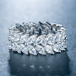 Women-Wedding-Rings-925-Silver-Jewelry-Marquise-Cut-White-Sapphire-Size-6-10