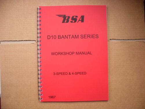 BSA D10 BANTAM SILVER,SUPREME,SPORTS /& BUSHMAN WORKSHOP MANUAL 1967