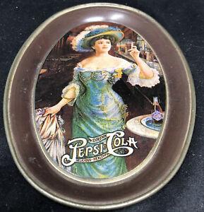 Vintage Pepsi-Cola Mini Oval Tin Serving Tray Victorian Lady