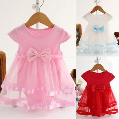 Newborn Baby Toddler Girls Birthday Christening Party Princess Romper Tutu Dress