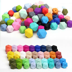 50Pcs-Hexagon-Silicone-Teething-Beads-Baby-Jewelry-DIY-Chewable-Necklace-Teether