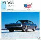 DODGE CHARGER R/T 1970 CAR VOITURE USA ETATS-UNIS CARTE CARD FICHE