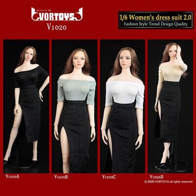 "VORTOYS V1020D 1//6 Female Shirt Slit Skirt Dress Clothes Shoes for 12/"" Figure"