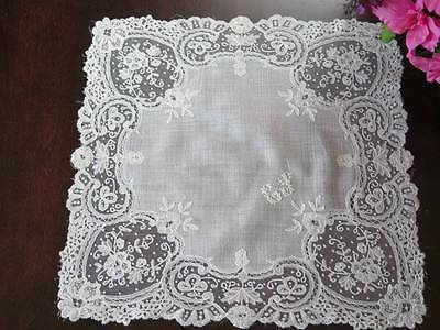 Vintage Antique Wedding Bridal Lace Handkerchief Brussels Belgian Applique E S m