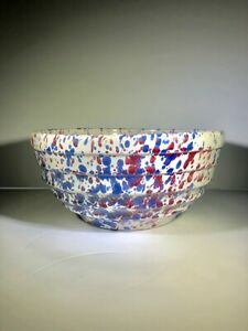 Red-White-Blue-Bauer-YellowWare-Bowl-Stoneware-Spatterware-Beehive-ridges