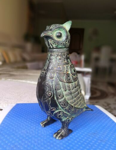 excellent Vintage Bronze Old eagle patina owl Statue