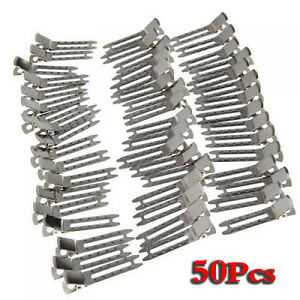 Approx-50Pcs-Double-Prong-Metal-Alligator-Clips-Hair-Bows-Silver-AD
