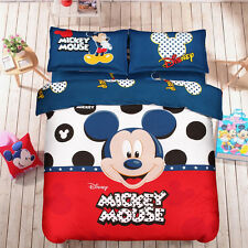 Queen Size Queen Cute Mickey Mouse Bedding Set Duvet Cover Sheet Pillow Case Set