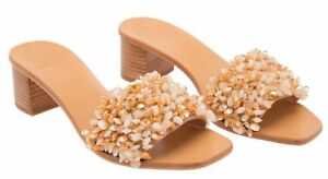 51e00e95ad77  348 New Tory Burch LOGAN 45 SLIDE Sandals Satin Beaded Rose Natural ...