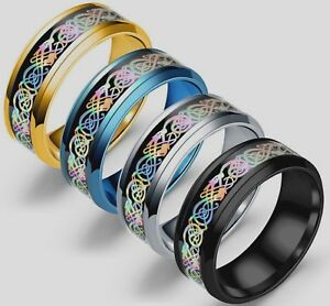 8mm-Stainless-Steel-Mens-Womens-Wedding-Band-Silver-Gold-Black-Celtic-Ring-K-Z4