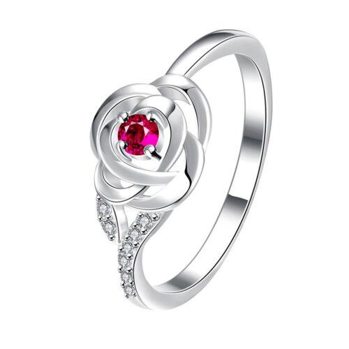 Lk /_ Femmes Tendance Zircone Fleur Rose Bague de Fiançailles Bijoux U