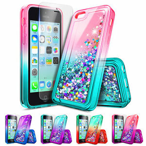 new concept 8bc19 e7ce4 Details about For Apple iPhone 5c | Liquid Glitter Shockproof Cover Case +  Screen Protector