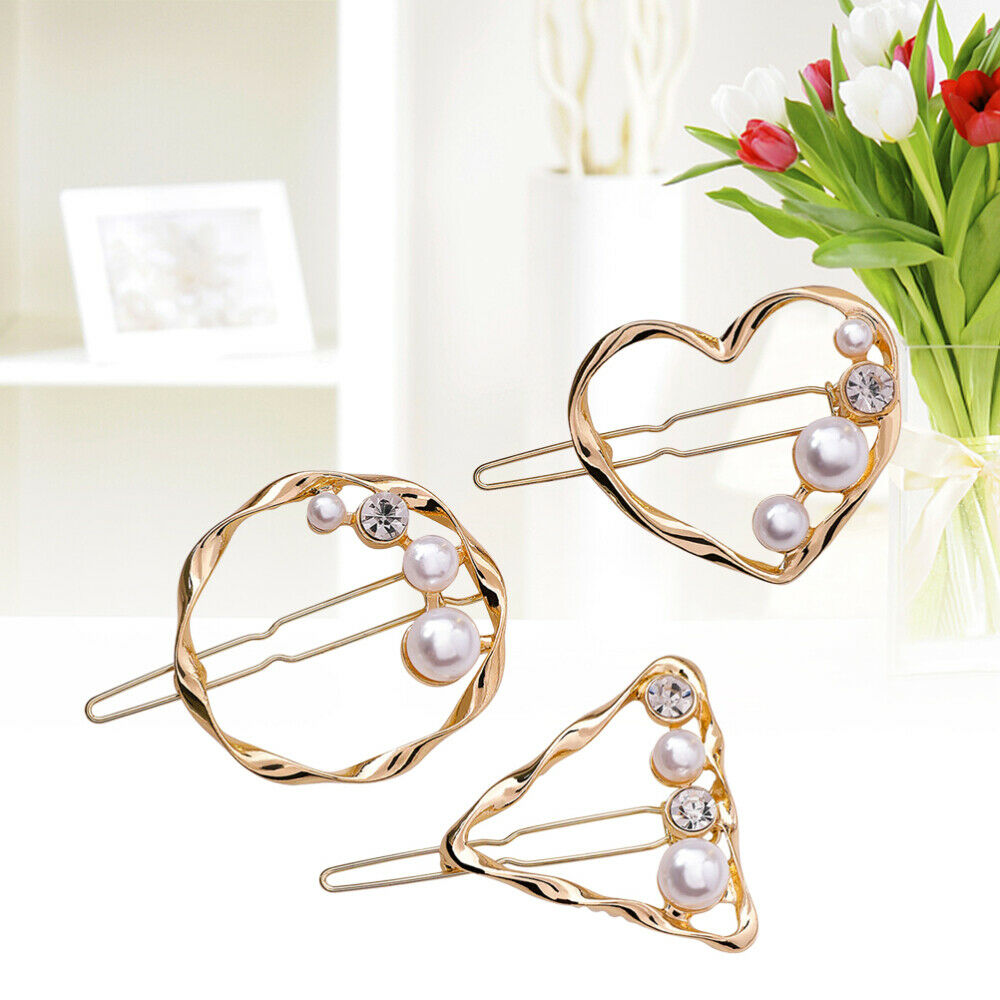 3pcs Hair Clips Pearl Rhinestone Metal Hollow out Barrettes Hairpins for Girls