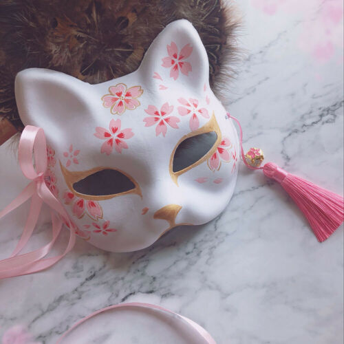 Japanese Fox Mask Hand Painted Cat Natsume S Book of Friends Pulp Fox Half Face
