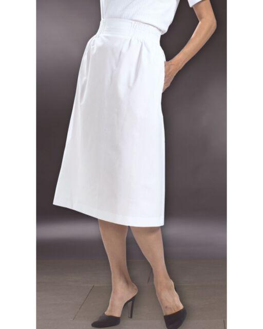 Woman's Solid Cotton Blend White Elastic Waist Nurses Skirt Pro Active
