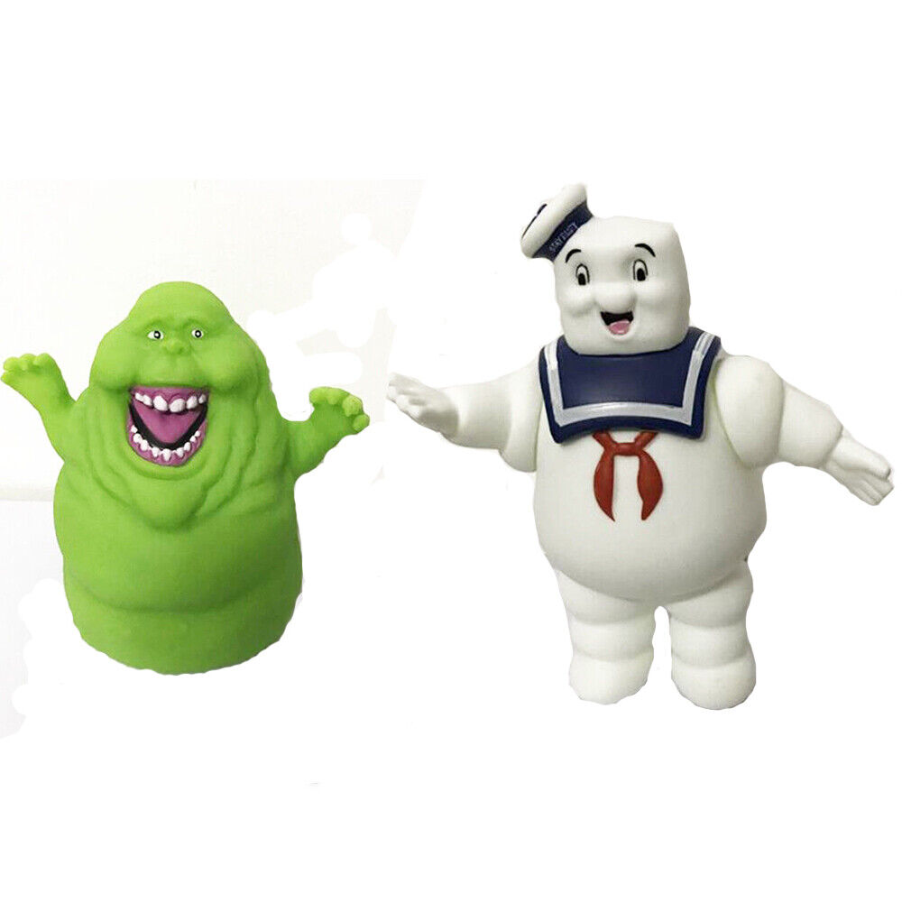 """LOT OF 2  GHOSTBUSTERS ACTION FIGURE Marshmallow Man Green Ghost  4/""""-5/"""" #D3"""