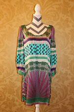 NWT Hale Bob Silk Dress & Belt Medium Long Sleeve Blue Purple Pink Green Pattern