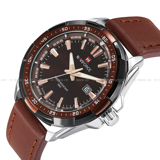 Analog Fashion Naviforce Men's gent Date Leather Army Sport Wrist Watch 9056 New
