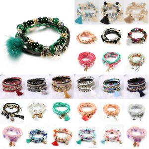 Damen-Wickelarmband-Perlen-Armband-Armschmuck-Kristall-Armkette-Herrenarm-Paket