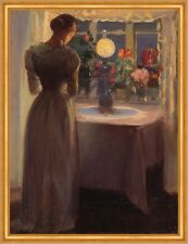 Young girl in front of a lighted lamp Anna Ancher Licht Silhouette B A1 00519