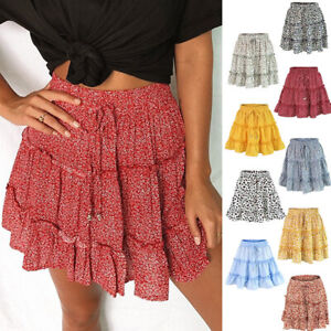 Floral-A-Line-Flare-Tie-Front-Ruffle-Tiered-Short-Mini-Skirt-Elastic-Waist-Beach