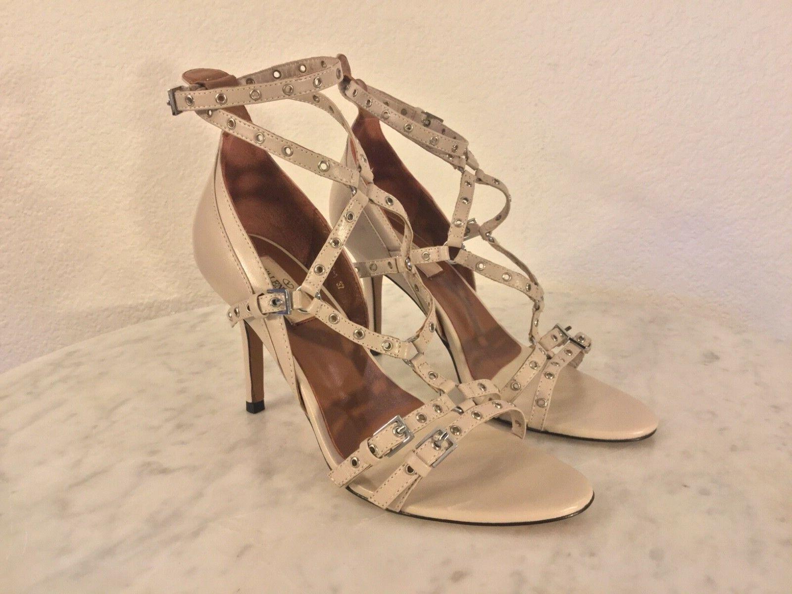 VALENTINO GARAVANI Cuir Crème Oeillet détaillé sandale talon WM SZ SZ SZ 37 M Italie. 7f7047