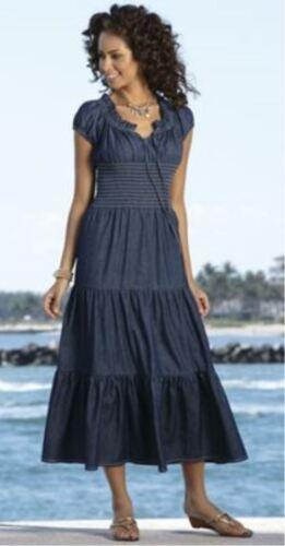 Monroe and Main Denim Blue Summer Maxi Sundress Peasant Dreams Dress Cruise S