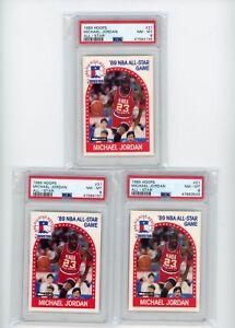 (3) Card Lot 1989-90 NBA Hoops #21 Michael Jordan PSA 8 Graded Bulls All-Star
