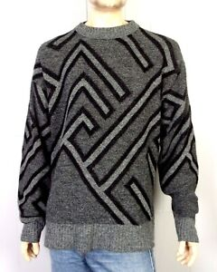 VTG-80s-Le-Tigre-graue-Herren-Geometric-Pattern-Crew-Bill-Cosby-Sweater-SZ-L-Tall