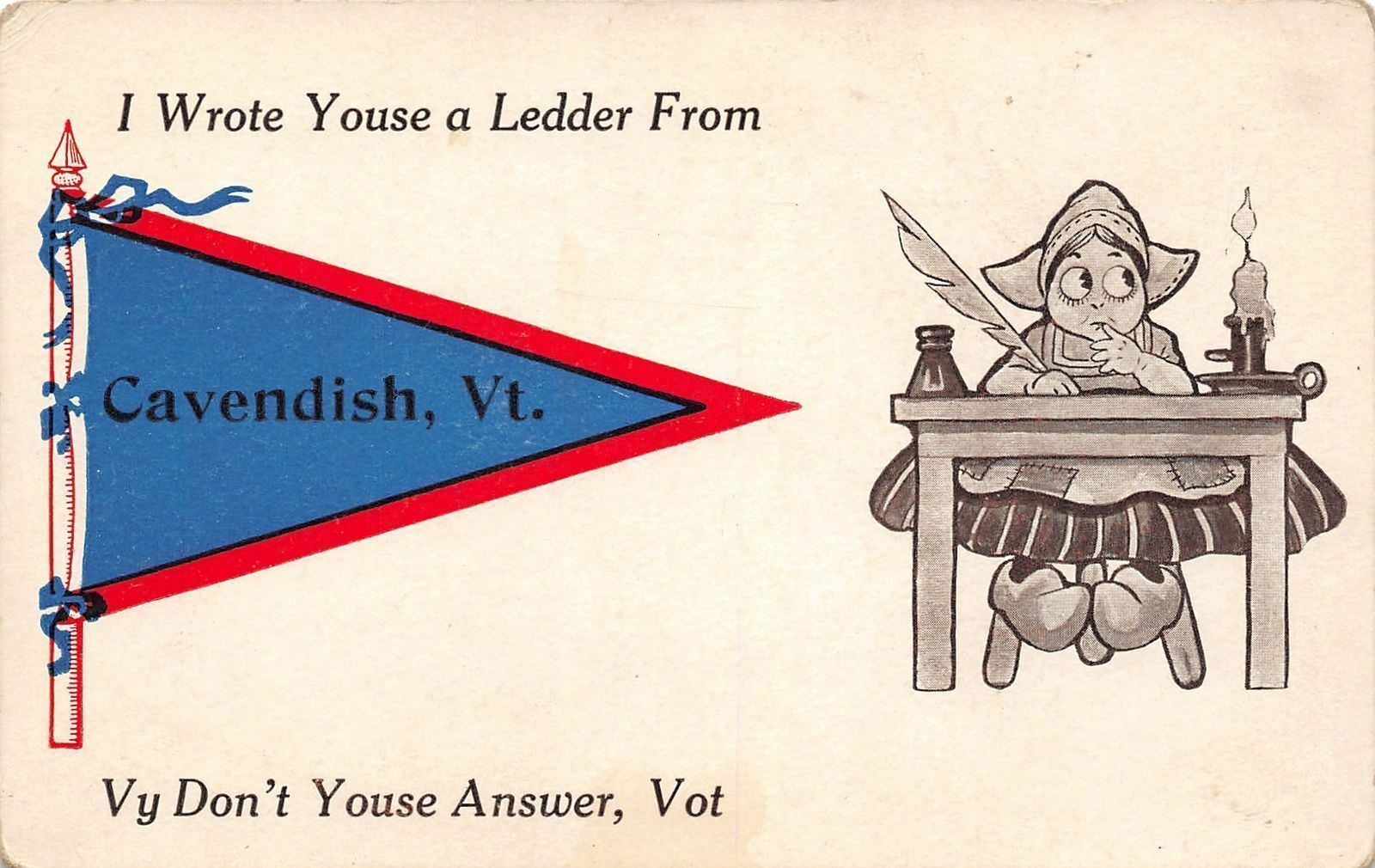 I Wrote You A Ledder from Cavendish Vermont~Candle on Desk~1914 Pennant PC