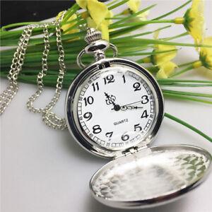 Silber-Quarz-Taschen-Uhr-Retro-Legierungs-Ketten-haengende-Halsketten-Charme-Q4Y9