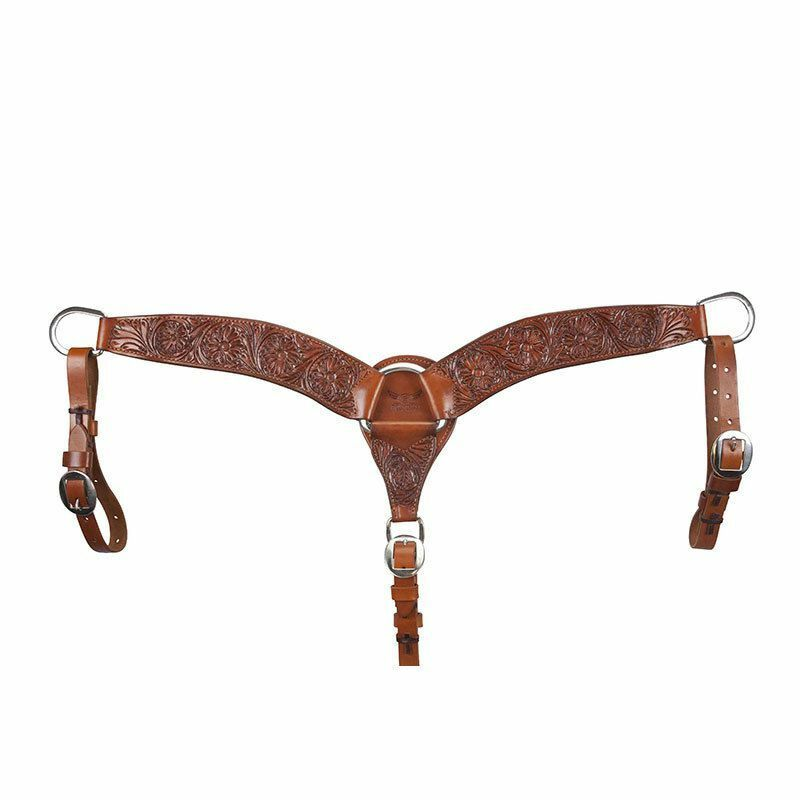 Western Natural  Leather 2.5  Wide Hand Carved Shaped Breast Collar