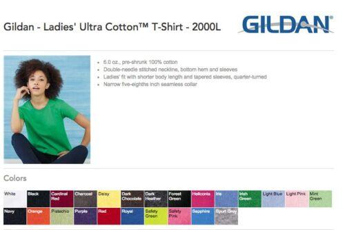 12 Gildan Ladies Ultra Cotton T-Shirt 2000L Bulk Lot ok to mix XS-XL /& Colors