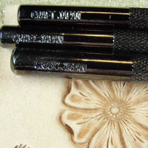 3 Leather Tools Flower Center Stamp Set Sheridan Style Steel Craft Japan
