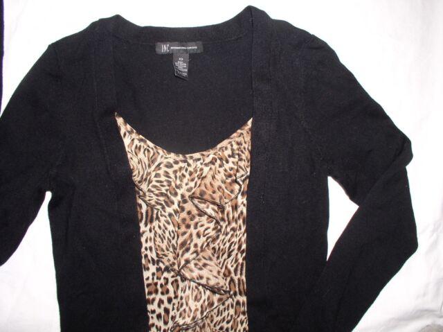 NWT INC International Concepts Sweater Top Leopard Ruffle Cheetah black LS XS