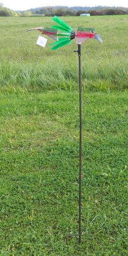 Beetstecker Vogel Windspiel Gartendeko Windrad Gartenstecker bunt 15895 grün-rot