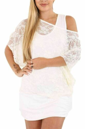 Womens Floral Lace Vest Insert Oversized Batwing Top 2 in 1 Plus Size Baggy Top