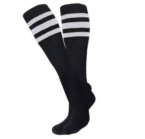 4 PAIRS TUBE SOCKS BLACK STRIPED 22 INCHES LONG SOCKS OLD SCHOOL COTTON SOCKS