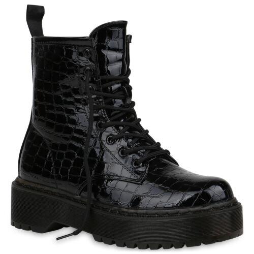 Damen Stiefeletten Plateau Boots Gefütterte Stiefel 832509 Trendy Neu