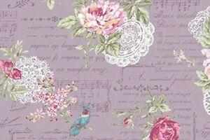 Cottage-Shabby-Chic-Quilt-Gate-RURU-Bouquet-Cotton-Fabric-RU22007-14D-Purple-BTY
