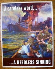 1942 WWII Poster Exhausted Sailors Watch Ship Burn A Needless Sinking OWI #24 A