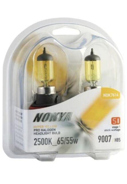 SIZE 9007 HB5 NOKYA S1 HYPER YELLOW 2500K HALOGEN REPLACEMENT LIGHT BULBS PAIR