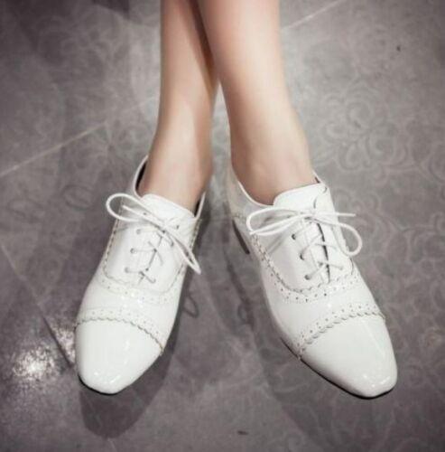 Femme Bout Pointu toe Casual Chaussures à talon plat et lacets Loisirs Oxford Taille Plus YH