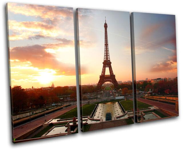 Eiffel Tower  Sunset City TREBLE CANVAS WALL ART Picture Print VA